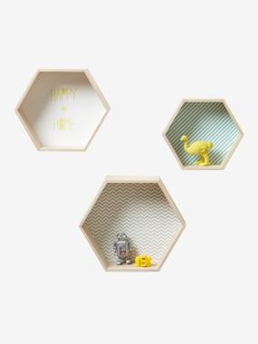 Decoration-Pack of 3 Hexagonal Shelves