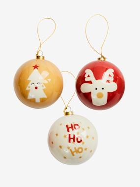 Decoration-Set of 3 Christmas Baubles, in Plastic.