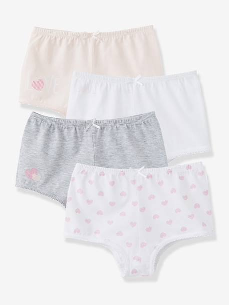 Girls' Pack of 4 Shorties White + pink + light grey - vertbaudet enfant