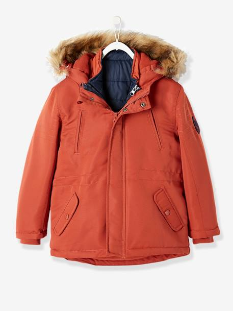 bbf8c68a56e2b 4-in-1 Parka with Fleece Lining for Boys - red medium solid, Boys