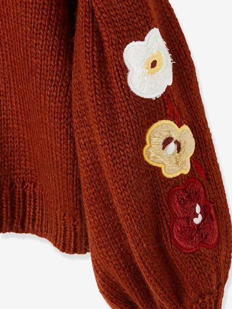 Gigot-Sleeved Pullover with Flower Appliqués for Girls BROWN DARK SOLID WITH DESIGN - vertbaudet enfant