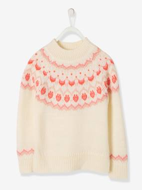 Vertbaudet Sale-Girls-Cardigans, Jumpers & Sweatshirts-Jacquard Knit Jumper, High Neck, for Girls