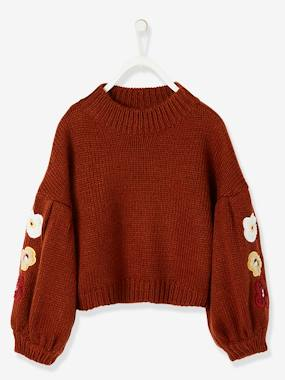 Girls-Cardigans, Jumpers & Sweatshirts-Gigot-Sleeved Pullover with Flower Appliqués for Girls