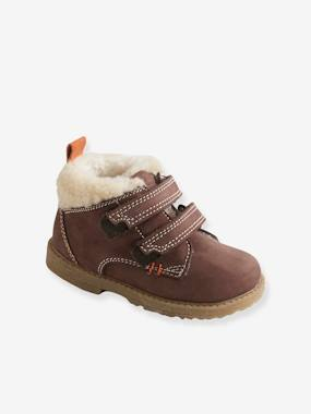 Shoes-Baby Footwear-Baby Boy Walking-Leather Boots with Fur and Touch 'n' Close Fastening Tabs for Boys