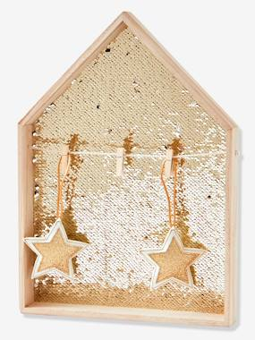 Christmas deco-House Picture Board in Gold Sequins