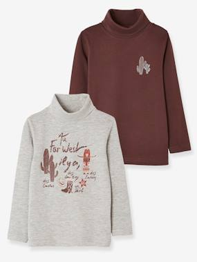 Boys-Tops-Roll Neck T-Shirts-Pack of 2 Tops for Boys, Cowboy Motifs