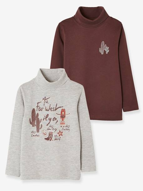 Pack of 2 Tops for Boys, Cowboy Motifs BLUE MEDIUM TWO COLOR/MULTICOL+BROWN DARK 2 COLOR/MULTICOL - vertbaudet enfant