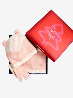 Girls-Accessories-Winter Hats, Scarves, Gloves & Mittens-Christmas Gift Box, Face theme, with Accessories for Girls