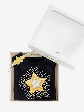 Gifts-Magic Star Gift Set for Girls: Jumper with Sequins + Headband
