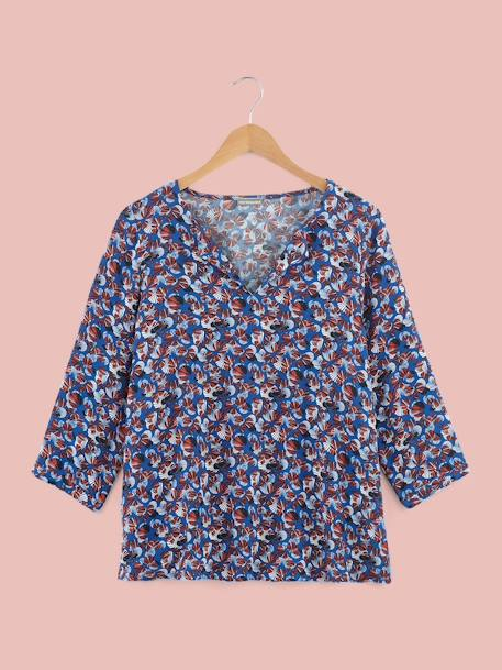 Petal Print Maternity Blouse BLUE MEDIUM ALL OVER PRINTED - vertbaudet enfant