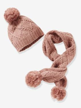 72267c1179c Cable Knit Beanie   Scarf for Girls - pink medium solid