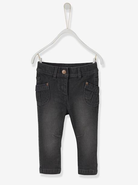 Baby Girls' Straight Fit Jeans GREY LIGHT WASCHED - vertbaudet enfant