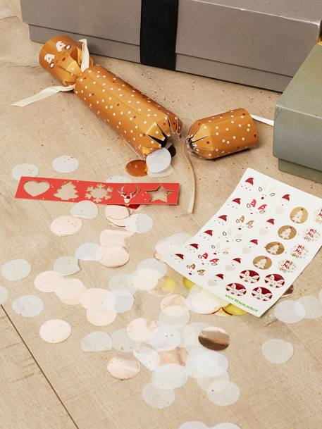 Set of 6 Christmas Crackers BEIGE LIGHT TWO COLOR/MULTICOL - vertbaudet enfant