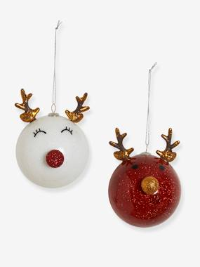 Decoration-Decoration-Set of 2 Christmas Reindeer Baubles