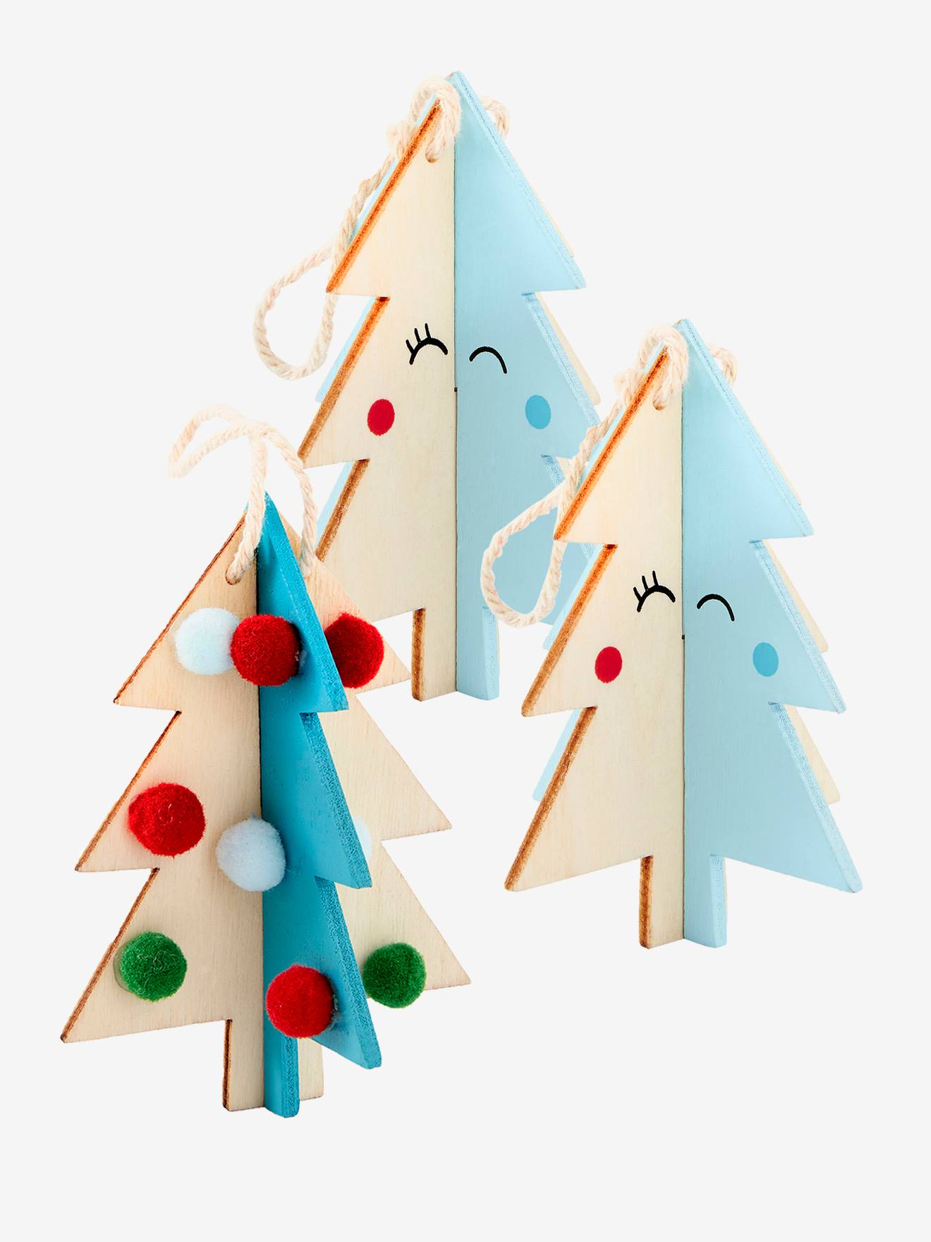 Set Of 3 Wooden Christmas Decorations Beige Light Two Color Multicol Bedding Decor