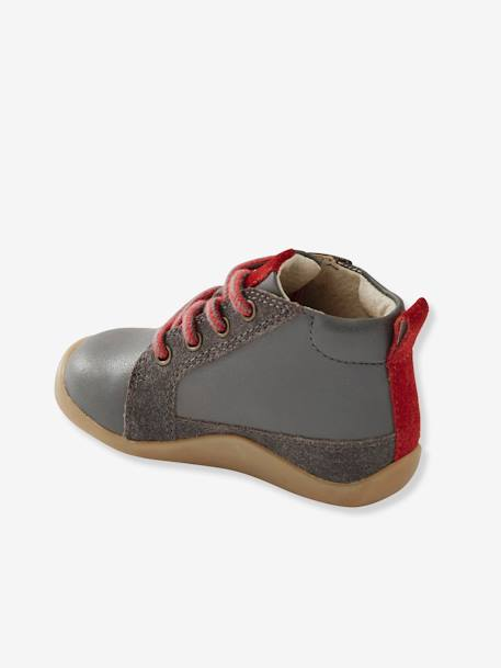 Two-tone Leather Boots for Boys, First Steps GREY MEDIUM SOLID - vertbaudet enfant