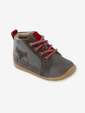 Shoes-Baby Footwear-Two-tone Leather Boots for Boys, First Steps