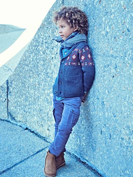 Jacquard Knit Cardigan for Boys BLUE DARK MIXED COLOR - vertbaudet enfant