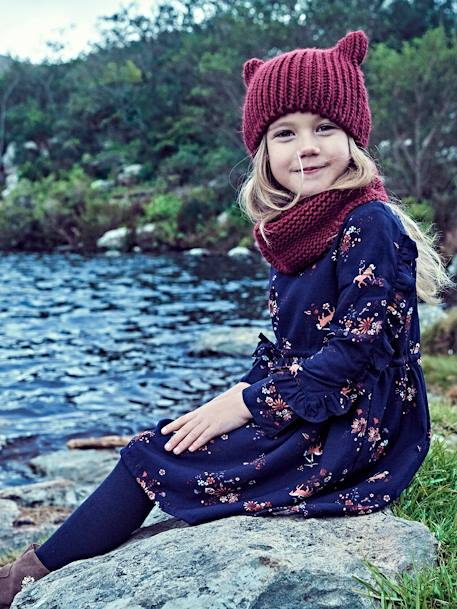 Girls' Stylish Beanie & Snood BLUE MEDIUM SOLID+ORANGE MEDIUM SOLID+RED DARK SOLID - vertbaudet enfant