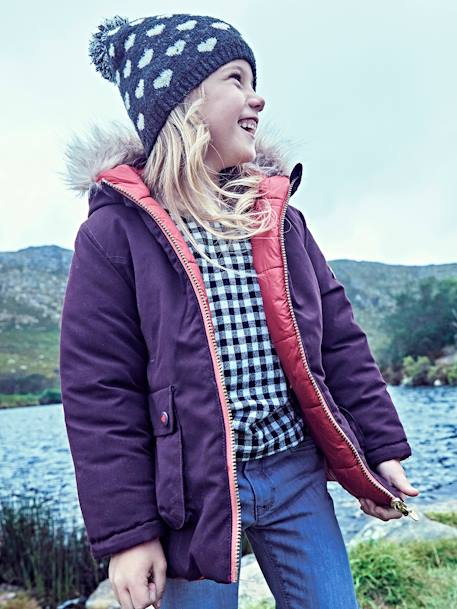 Reversible Parka for Girls BLUE DARK SOLID+PINK LIGHT SOLID+PURPLE DARK SOLID WITH DESIGN - vertbaudet enfant
