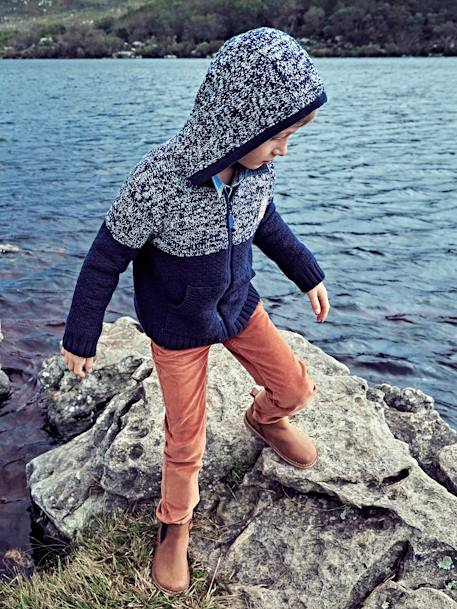 Boys' Zip-Up Cardigan with Hood BLUE DARK MIXED COLOR - vertbaudet enfant