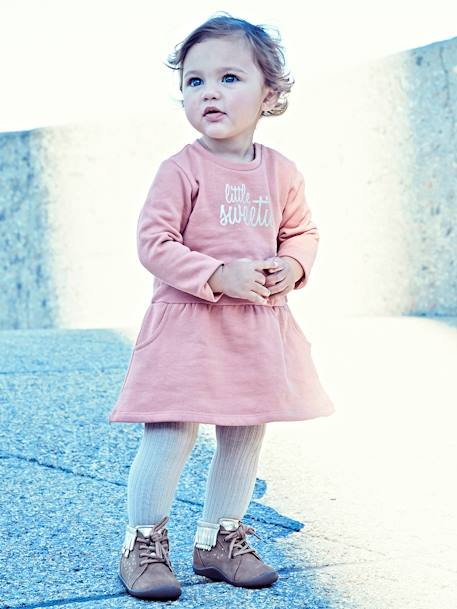 Robe en molleton message devant bébé fille GRIS CLAIR CHINE+MARINE GRISE+ROSE+ROSE BLUSH - vertbaudet enfant