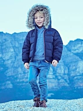 coats-Boys' Padded Jacket with Polar Fleece Lining