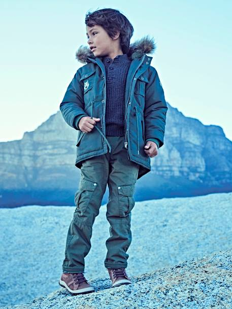 Plush-Lined Parka for Boys BLUE DARK SOLID WITH DESIGN+GREEN DARK SOLID WITH DESIGN - vertbaudet enfant