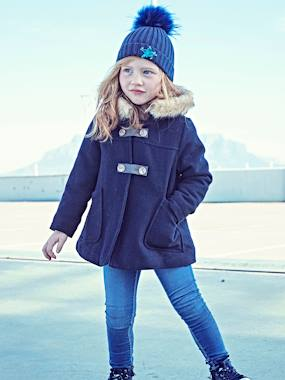 Outlet-Manteau fille en drap de laine