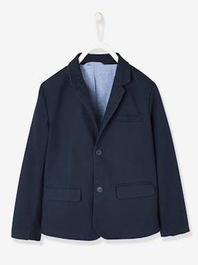 Boys-Coats & Jackets-Jackets-Occasion-wear Blazer in Cotton Piquet for Boys