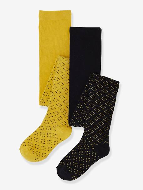 Lot de 2 collants en maille ajourée fille Lot jaune moutarde+LOT KAKI - vertbaudet enfant