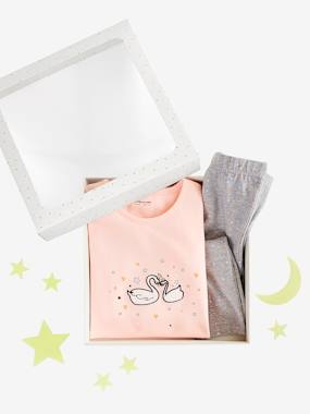 Vertbaudet Collection-Lovely Star Gift Set for Girls: Nightie & Leggings + Glow-in-the-Dark Stars