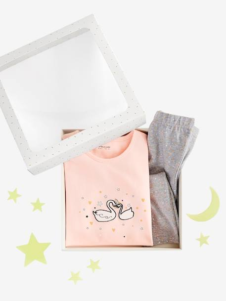 Lovely Star Gift Set for Girls: Nightie & Leggings + Glow-in-the-Dark Stars PINK LIGHT SOLID WITH DESIGN - vertbaudet enfant