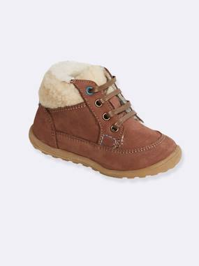 Shoes-Baby Footwear-Leather Boots with Fur for Boys