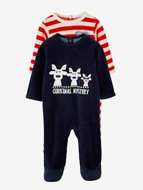 Vertbaudet Sale-Baby-Pack of 2 Baby Velour Pyjamas
