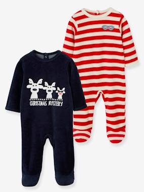pyjama-Baby-Pack of 2 Baby Velour Pyjamas