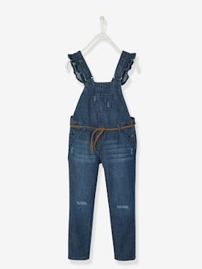 Vertbaudet Sale-Girls-Denim Dungarees with Frills for Girls