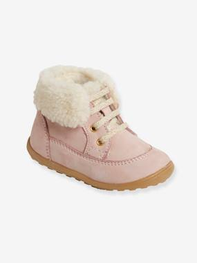 Shoes-Baby Footwear-Baby's First Steps-Leather Boots with Fur Lining for Girls