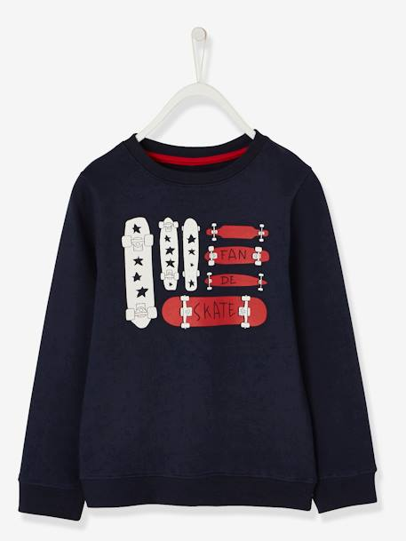 Sweatshirt for Boys BLUE DARK SOLID WITH DESIGN - vertbaudet enfant