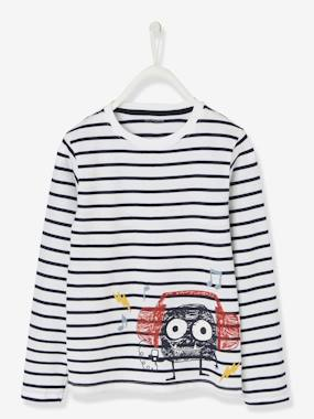 Boys-Tops-T-Shirts-Striped T-shirt for Boys with Motif