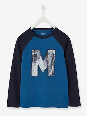 Boys-Tops-T-Shirts-Two-Tone Top with Graffiti Motif for Boys