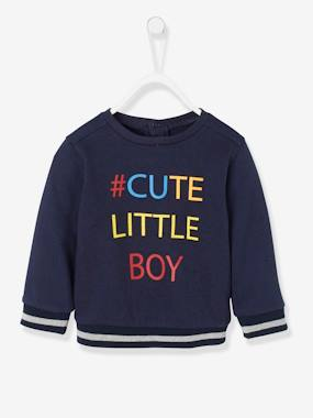 Baby-Jumpers, Cardigans & Sweaters-Sweatshirt with Message for Baby Boys
