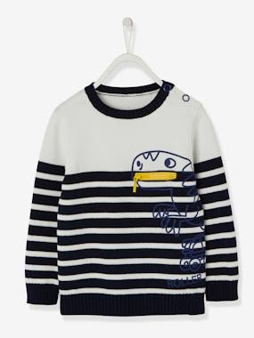Mid season sale-Boys-Cardigans, Jumpers & Sweatshirts-Striped Jumper for Boys, Fun Dinosaur