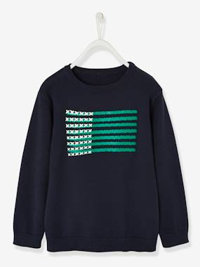 Boys-Cardigans, Jumpers & Sweatshirts-Jumpers-Top with Flag Motif in Relief, for Boys