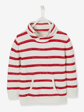 Mid season sale-Boys-Cardigans, Jumpers & Sweatshirts-Light Striped Jumper for Boys, in Fancy Knit