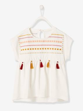 Girls-Tops-Short-Sleeved T-Shirt for Girls, Embroidered with Tassels