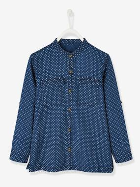 Boys-Shirts-Grandad-Style Collar Shirt with Mini Star Print for Boys