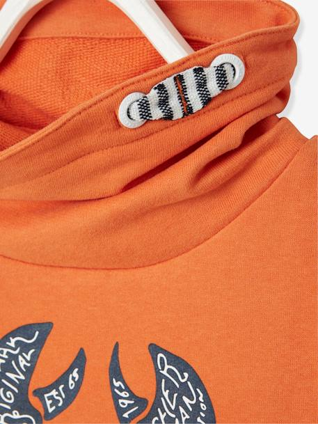Sweatshirt with Crossover Collar for Boys BLUE DARK SOLID WITH DESIGN+ORANGE MEDIUM SOLID WITH DESIG - vertbaudet enfant