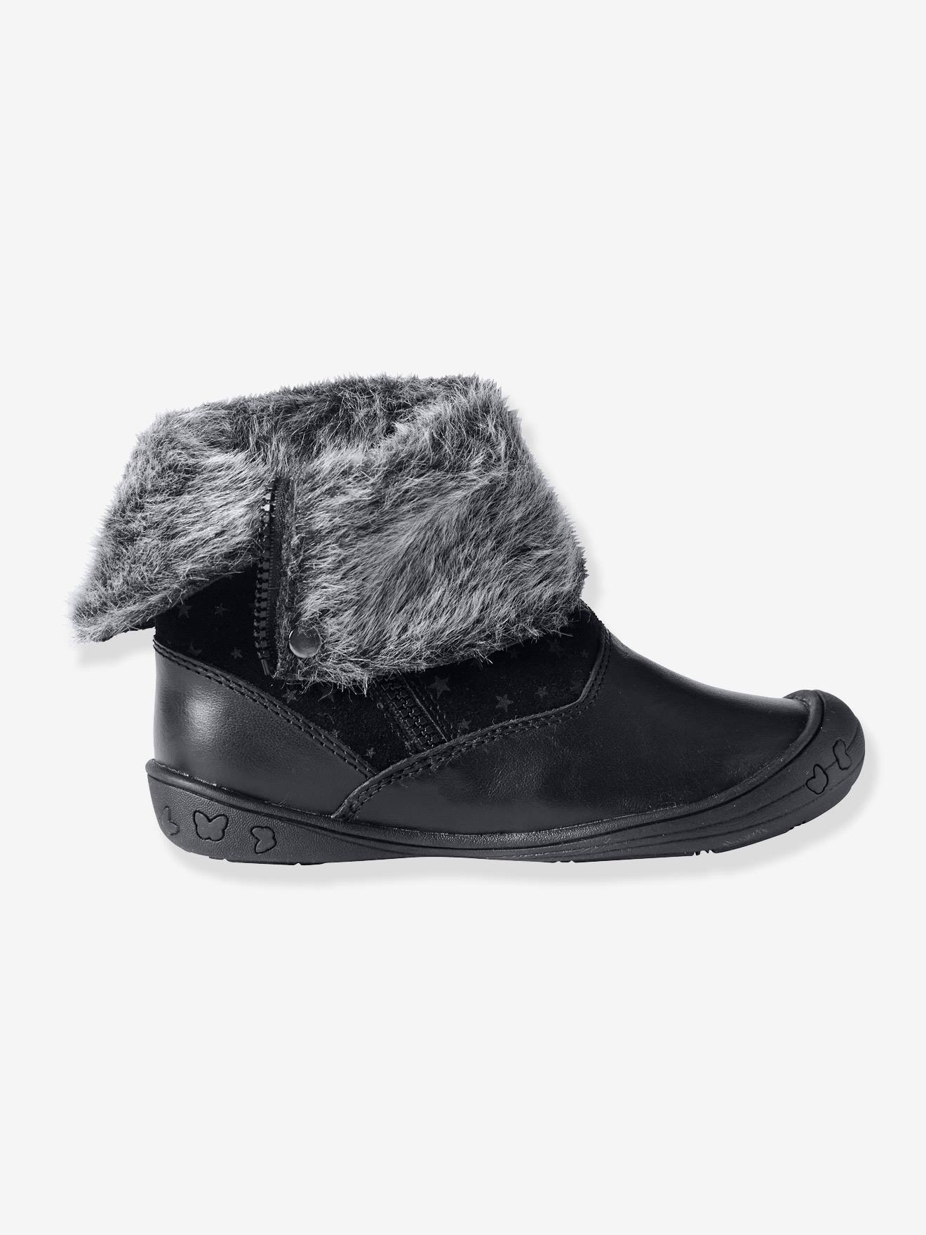 buy popular details for outlet store sale Girls' Leather Boots - black dark all over printed, Shoes