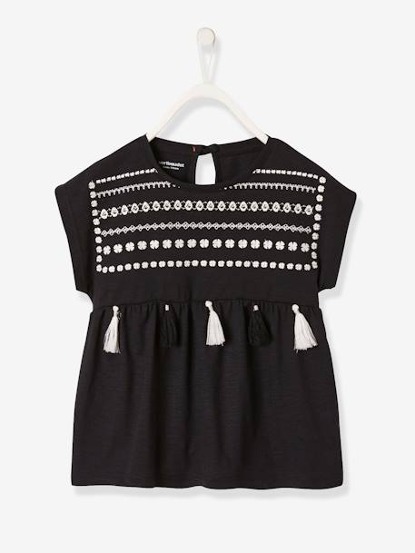a9c07bc1b1f1 Short-Sleeved T-Shirt for Girls, Embroidered with Tassels - black dark  solid with design …